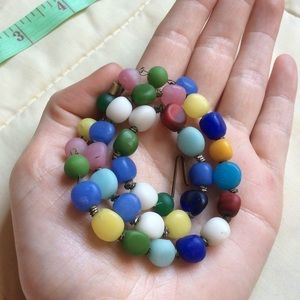 Vintage Jewelry - Vintage Rainbow Smooth Sea Glass Italian Necklace